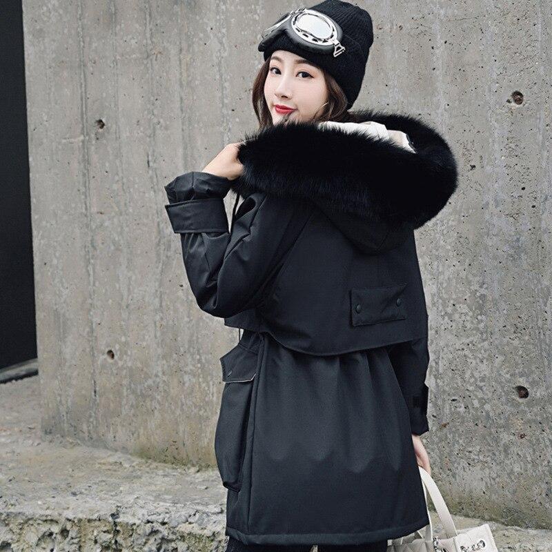 White Duck Down Jacket Women Raccoon Fur Collar Warm Parka Down Coat Puffer Jacket Winter Coat Women Casaco 8223 YY1223