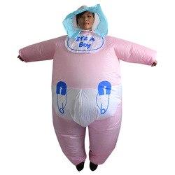 Взрослое розовое для детей, младенцев, новорожденных, надувыне костюмы женские и мужские маскарадный костюм для Хэллоуина с мультипликацио...