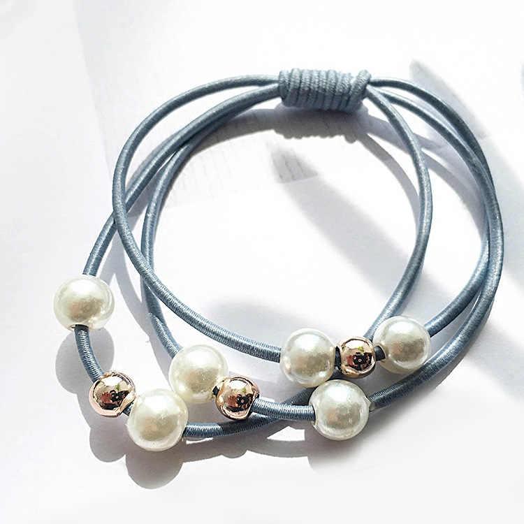 Kadın pembe inci elastik saç bantları at kuyruğu tutucu sakız saç Scrunchie lastik bantlar Headbands kızlar saç aksesuarları