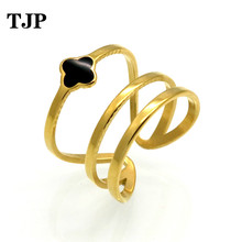 2019 Fashion New Vintage Gold Color Anel Black Enamel Lucky Clover Rings 316L Stainless Steel Finger Rings For Women Jewelry все цены