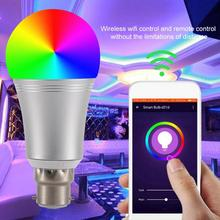 Smart Wi-Fi LED E27 Light Bulb AC100-264V E27 E14 B22 9W RGB+W Smartphone Controlled Lamp Bulbs Changeable Color Remote Control bokit 9w e27 led rgb light colorful bulb lamp remote control