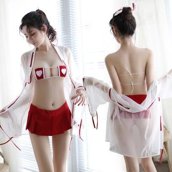 Womens Japanese Witch Cosplay Lingerie Anime Fancy Uniform Sexy Strappy Bikini  Set sex skirt sexy police uniform