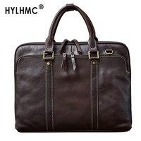 Men's Handbags Laptop Bag Business High end Briefcase Male Schoolbag 15.6 Horizontal Cowhide Retro Handmade Genuine Leather Men