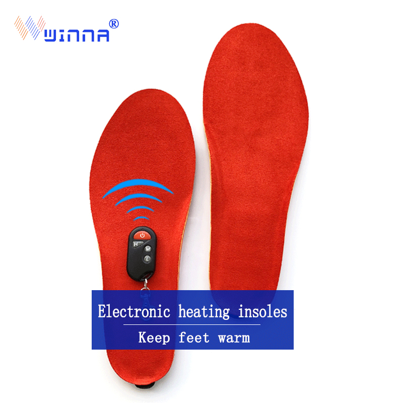 New USB heating insoles winter Imitation leather cashmere women men insoles chargeing remote control insoles size