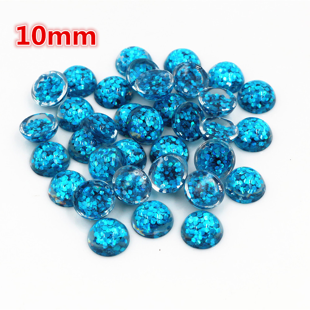 New Fashion 40pcs 10mm Sky Blue Color Flat Back Resin Cabochons Cameo  O6-13