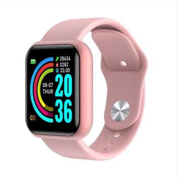 Y68 sport montre intelligente vie étanche montre pression artérielle moniteur de fréquence cardiaque Silicone souple 1.3 pouces Bracelet intelligent Smartwatch