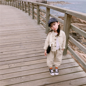 Image 4 - 2019 Autumn New Arrival Korean style cotton clothing sets casual jacket with harlen long pants fashion suit for baby girls boys