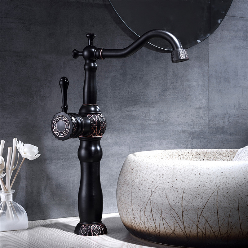 Bathroom Sink Faucet Black Oil Brass Carved Basin Faucet Single Handle Basin Taps Grifo Lavabo Wash Hot and Cold Mixer Tap Crane