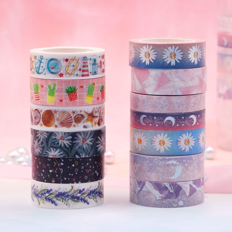 Kawaii Daisy moon Washi Tape Ocean geometry Decorative Adhesive Tape DIY Scrapbooking Sticker Label Stationery Masking tape