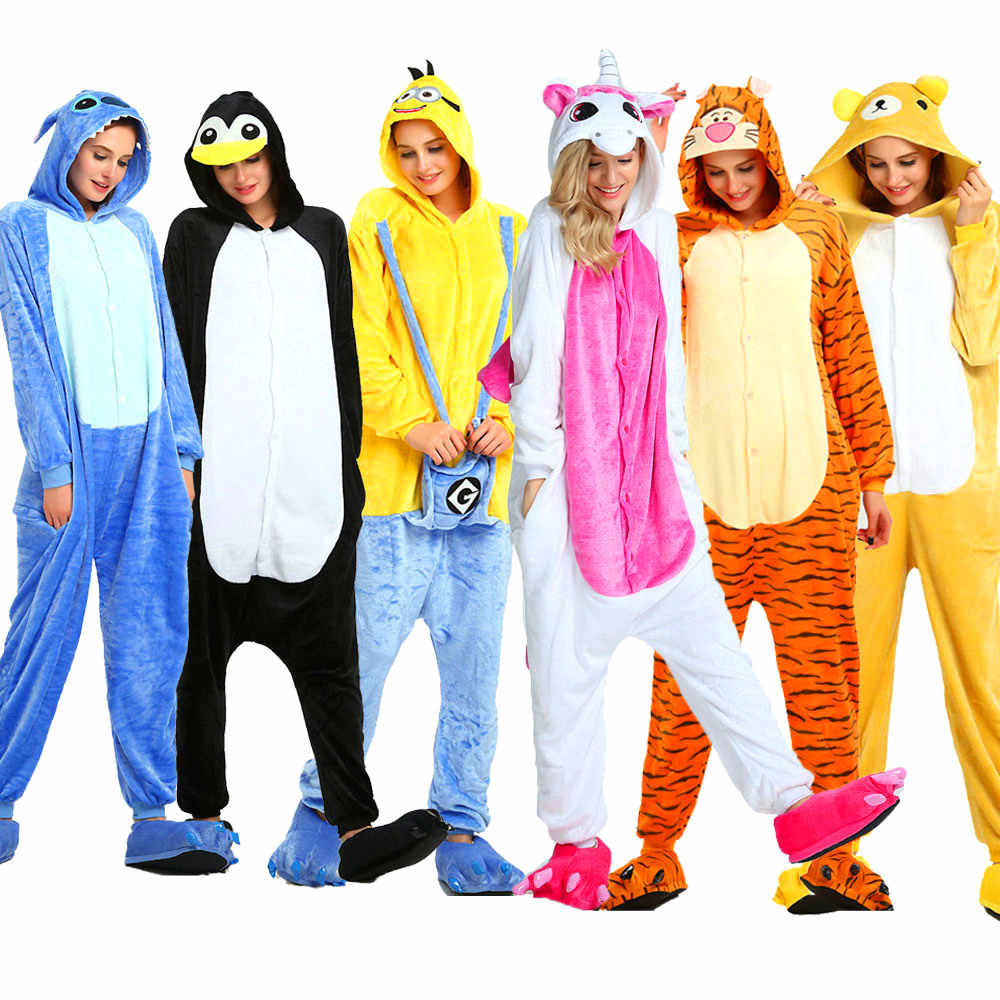 Взрослые пижамы женские фланелевые пижамы унисекс кигуруми милый Единорог Вышивка поросёнок мультфильм животных пижамы наборы с капюшоном