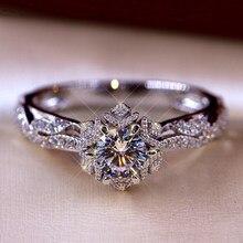 Modyle anel de noiva com redondo brilhante zircão cúbico prong definir aniversário noivado anéis de casamento para mulher tamanho 6-10