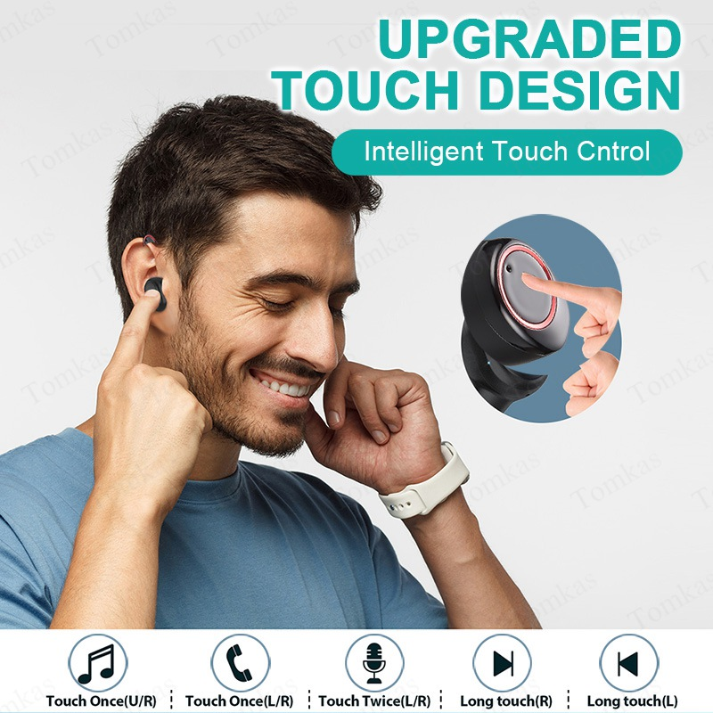 TOMKAS 4000mAh TWS Wireless Earphone Bluetooth 5.0 Earphone Power Display Touch Control Sport 9D Stereo Cordless Earbud Headset  (7)