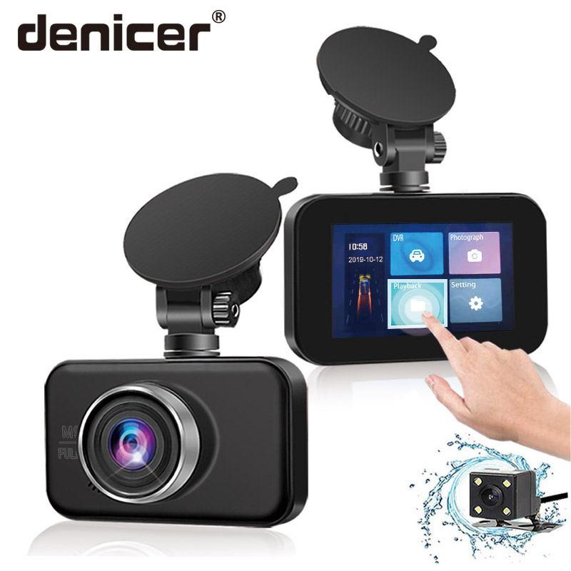 Denicer Dash Camera Dual Lens With Rearview Camera vehicle Video Recorder Auto Registrator Car Dvrs 3.0 Inch Touch Screen Cam image