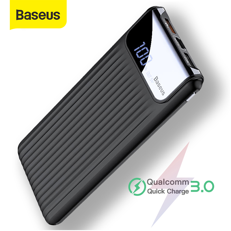 Baseus 10000mAh Power Bank Quick Charge 3.0 For Xiaomi Samsung LCD 10000 MAh Powerbank Portable Phone External Battery