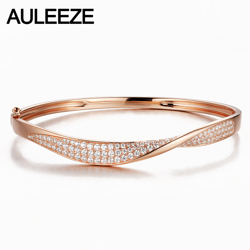 14k Rose Gold Natural Diamond Bangle