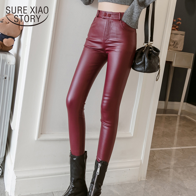 Cool  Leather Pants Women Autumn Winter Elastic Stretch Skinny High Waist Women Pants Plus Size Solid Red Pencil Pants 7163 50