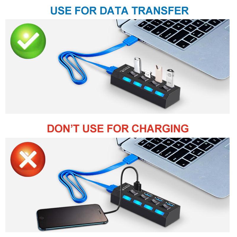 USB 3.0 Hub USB Hub 3.0 Multi USB Splitter 3 Hab Use Power Adapter 4/7 Port Multiple Expander 2.0 USB3 Hub with Switch for PC 5