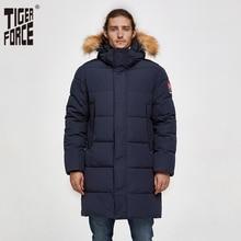 TIGER FORCE Parka Men Winter Jacket Men's Padded Warm Coat with Artificial Fur Hood Thick Outwear Waterproof Male Snowjacket цена
