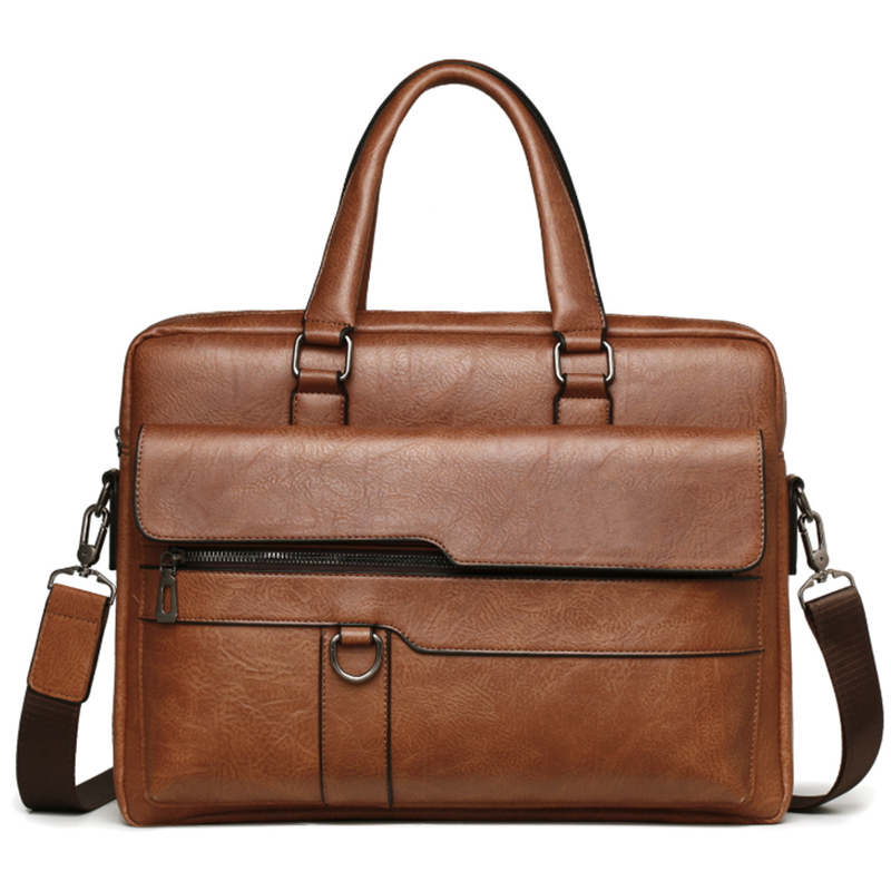 Men Briefcase Bag High Quality Business Famous Brand Leather Shoulder Messenger Bags Office Handbag 14 Inch Laptop