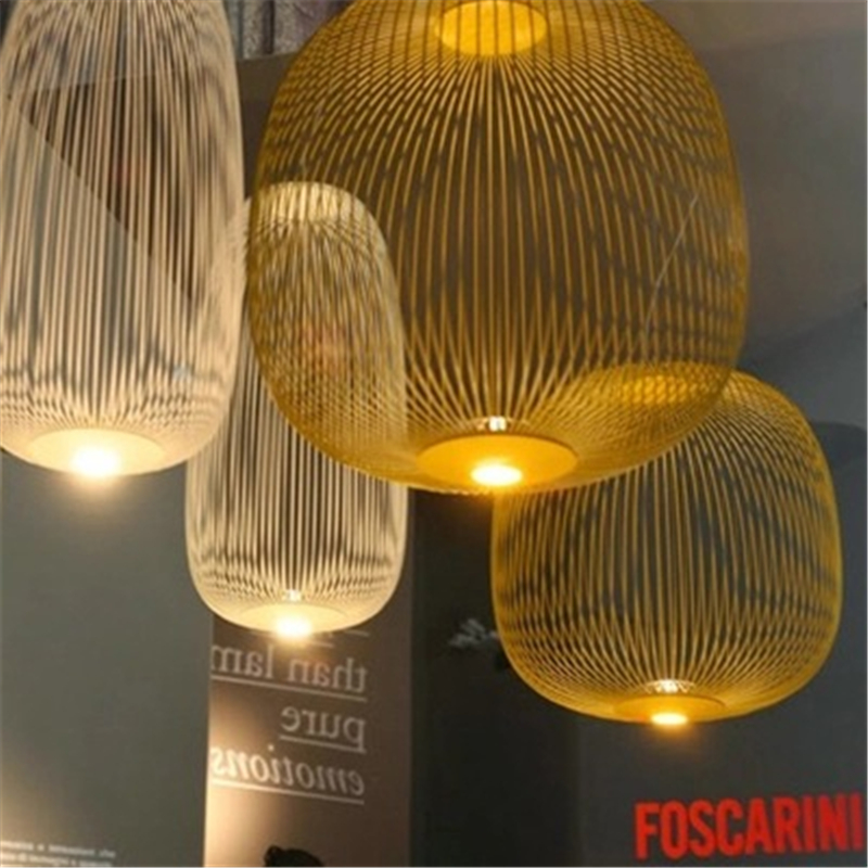 Replica Foscarini Spokes 2 Suspesnsion White Pendant Lamp Dining room Bar Kitchen island Birdcage light italian designer lamp