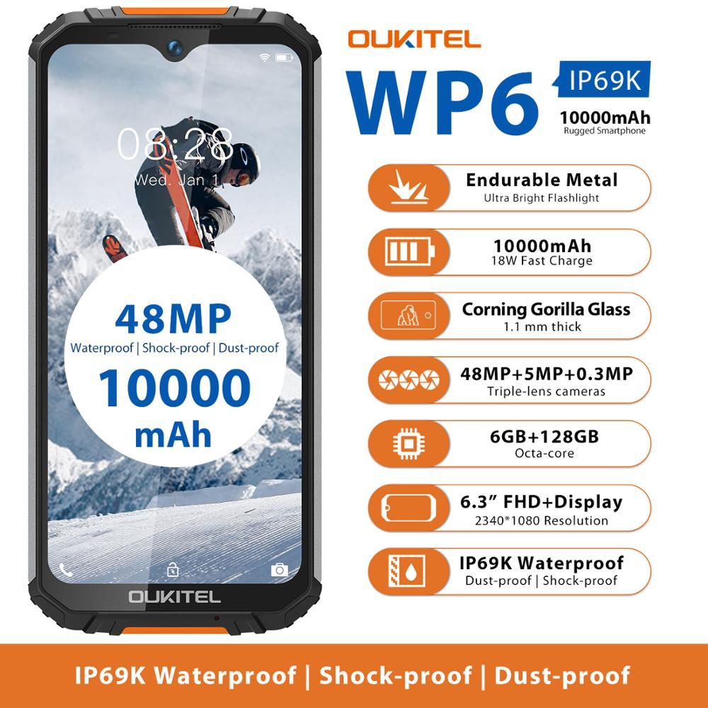 Oukitel-teléfono inteligente WP6, móvil resistente al agua IP68, procesador MT6771T, Octa Core, pantalla de 9V/2A, batería de 10000mAh, cámara Triple de 48.0mp, 6GB RAM, 128GB Rom