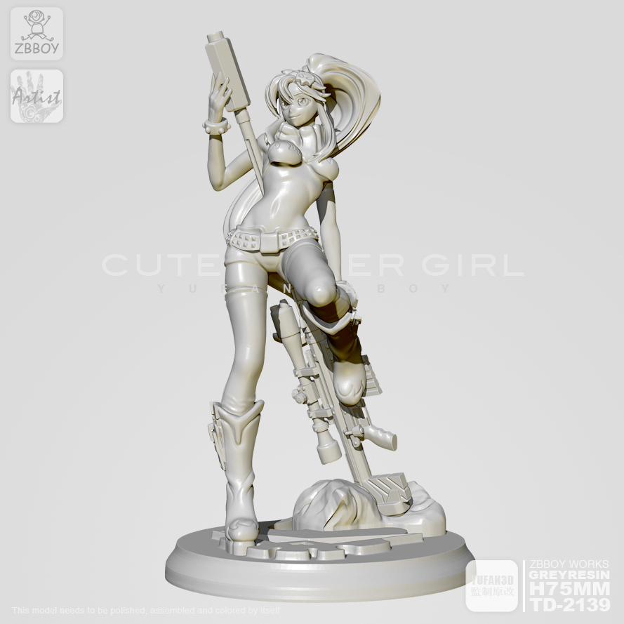 1/24 Resin Figure Kits Snipe Girl Model (75mm) Self-assembled TD-2139