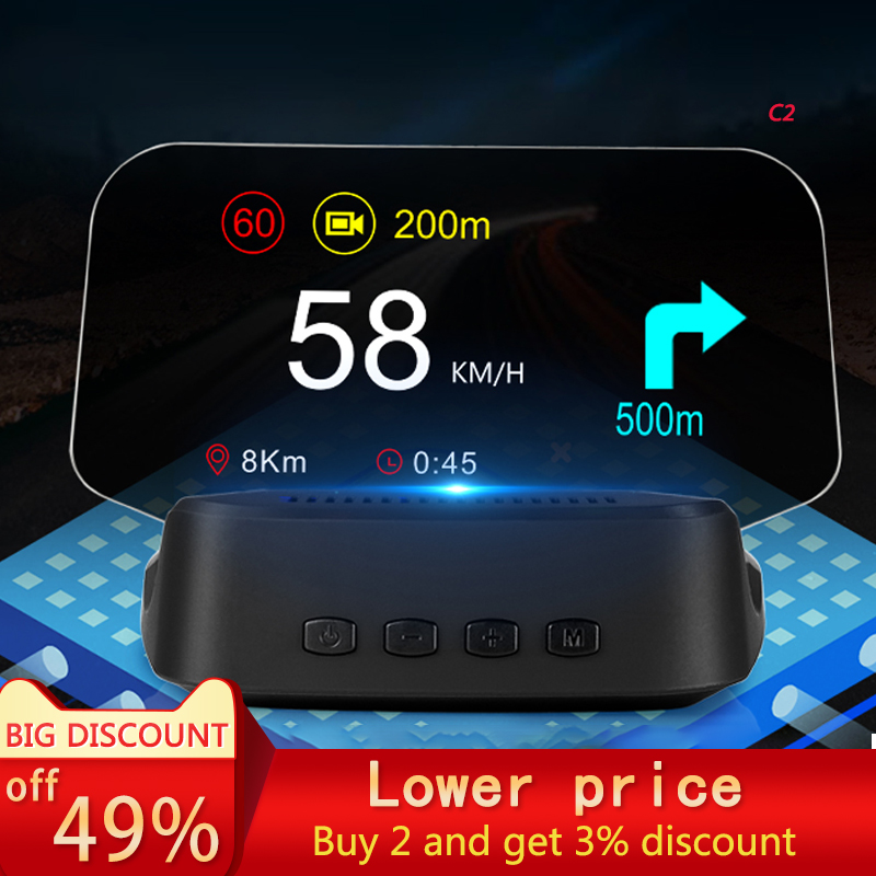 2021new Car HUD head-up display OBD2 smart carplay navigation carlife Speed HD Projection wireless steering wheel remote control