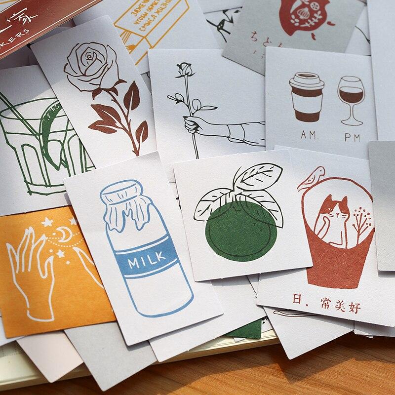 60 Pcs/set Kawaii Bullet Journal Stickers Cute Hand Drawn Garden Plants Pattern Stickers Scrapbooking Diary Ablum Decoration