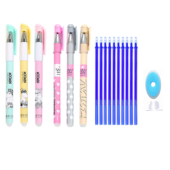 0.38mm kawaii erasable pen set blue and black ink gel pen refills, washable rod with handle, used for school office stationery kawaii small fresh style erasable gel pen refills is blue ink and black ink a magical writing neutral pen