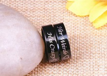 Hot Sale Stainless Steel Valentine Couple Rings His Crazy Her Weirdo Love Rings Black and Silver Pair Rings stars pattern double layer titanium steel couple rings black silver golden us size 9 7
