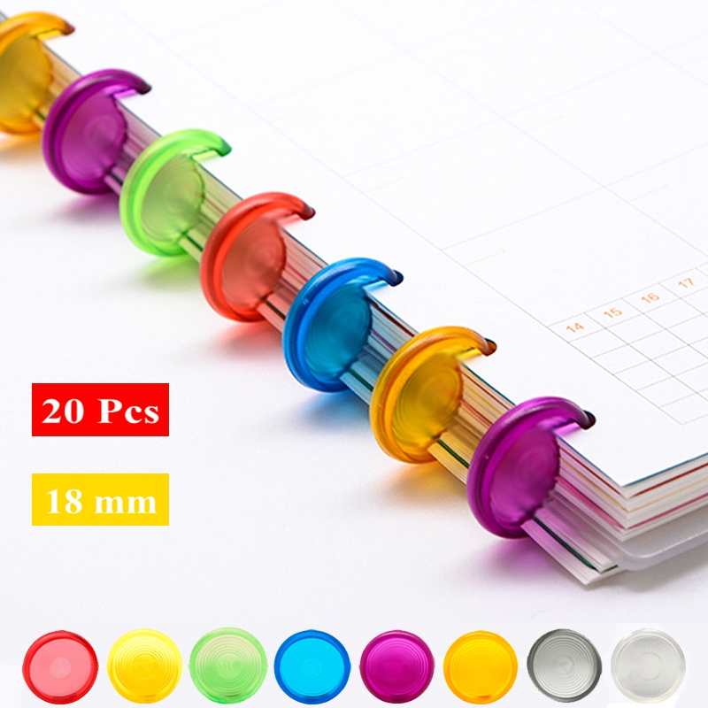 20Pcs 18mm Candy Color Mushroom Hole Disc Binders For Notebooks/Planner Diy Loose Leaf  Binding Rings Discbound Discs CX19-004
