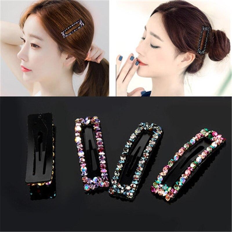 Корейские блестящие хрустальные шпильки со стразами, геометрические прямоугольные накладные жемчужные заколки для волос, аксессуары для в...