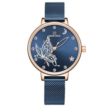 NAVIFORCE Luxury Crystal Watch Women Top Brand Rose Gold Steel Mesh Ladies Wrist Watches Bracelet Girl Clock Relogio Feminino 9