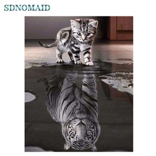 SDOYUNO 5d DIY Diamond Painting  Full square/round Diamond embroidery Mosaic Cat and Tiger rhinestone pictures Cross Stitch sdoyuno full square round landscape 5d diy diamond painting rhinestone pictures mosaic cross stitch diamond embroidery