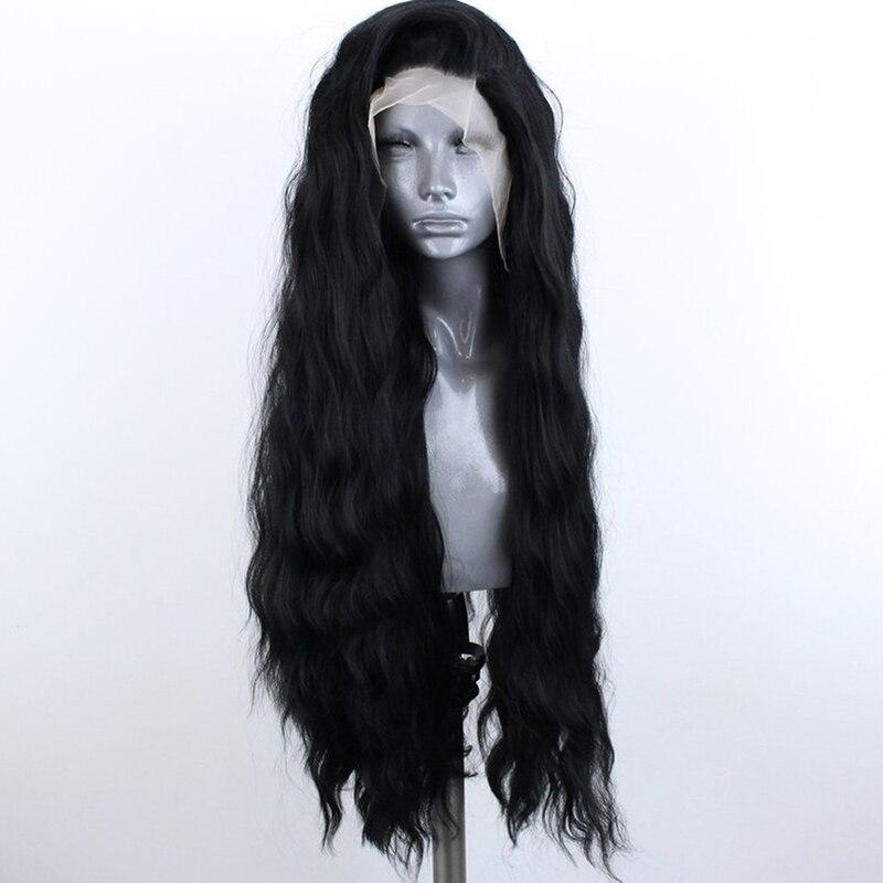 Quinlux perucas preto longo onda solta peruca resistente ao calor do cabelo da fibra perucas sintéticas da parte dianteira do laço para o uso diário feminino perucas de maquiagem