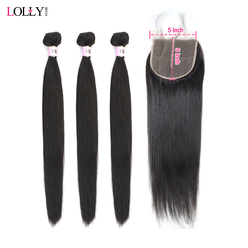 Lolly Straight Hair Bundles With Closure 5X5 Inch Brazilian Hair Weave Bundles With Closure Non Remy 3 Bundles With Lace Closure