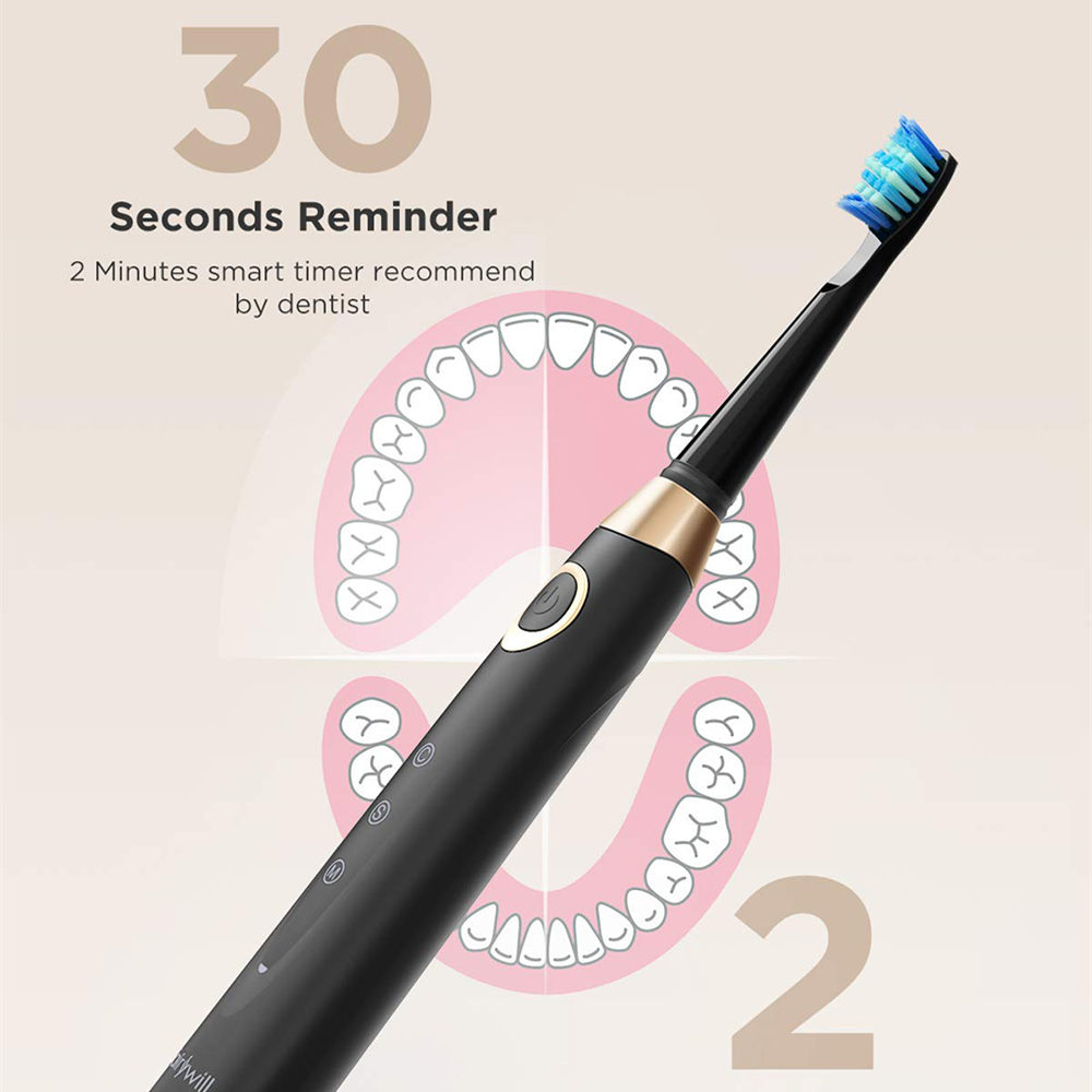 Fairywill 508 Sonic Electric Toothbrush Rechargeable 3 Brush Heads 2 Mins Timer Brush 5 Modes Fast Charge Tooth Brush for Adults