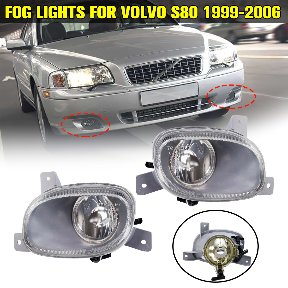 2x Front Bumper Fog Lights With No Bulbs Pair For Volvo S80 1999 2000 2001 2002 2003 2004 2005 2006 Car Clear Lens Accessories
