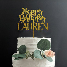 Custom Name Happy Birthday Cake Topper, Personalized Birthday Party Decor,Mirror Gold Wood Rustic Birthday Supplies