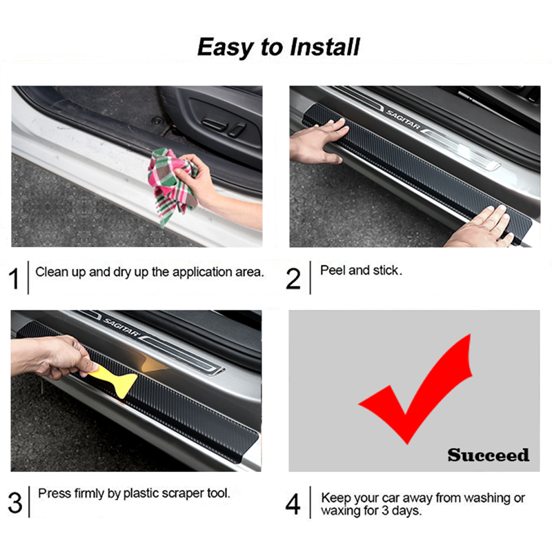 Image 5 - Car Interior Accessories Door Sill Scuff Welcome Pedal Threshold For Ford F 450 Carbon Fiber Protect Stickers-in Interior Mouldings from Automobiles & Motorcycles