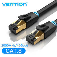 Vention Cat8 Ethernet Cable SFTP 40Gbps Super Speed RJ45 Network Cable Gold Plated Connector for Router Modem CAT 8 Lan Cable