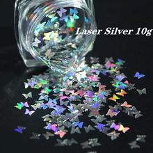 10 г/пакет 3 мм Лазерная Серебряная бабочка с блестками Блестящий
