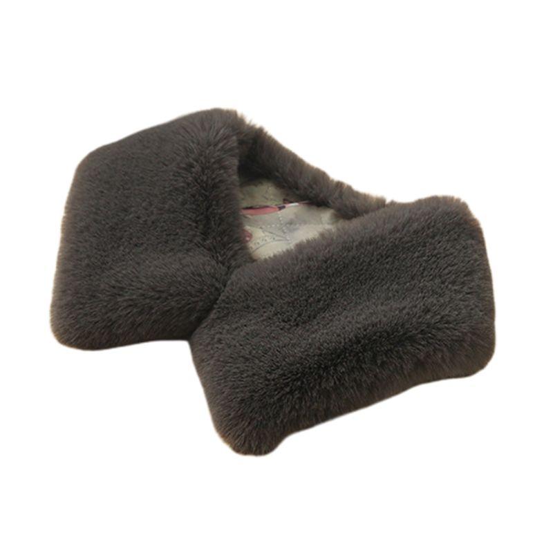 Womens Faux Rabbit Fur Sweater False Fake Collar Scarf Shaw Square Detachable LX9E