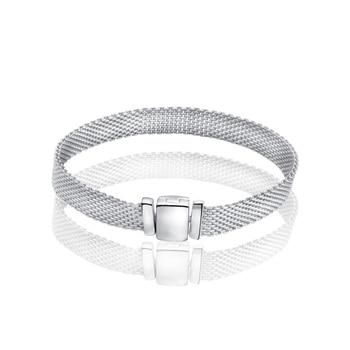 2020 New DIY Lady Birthday Gift HOT Silver bracelet flat Sterling Women Jewelry 100% 925