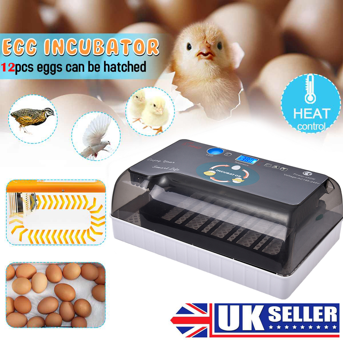 Full Automatic Hatchery Incubator Temperature Display Farm Egg Incubator Hatcher Chicken Duck Bird Pigeon Quail Brooder