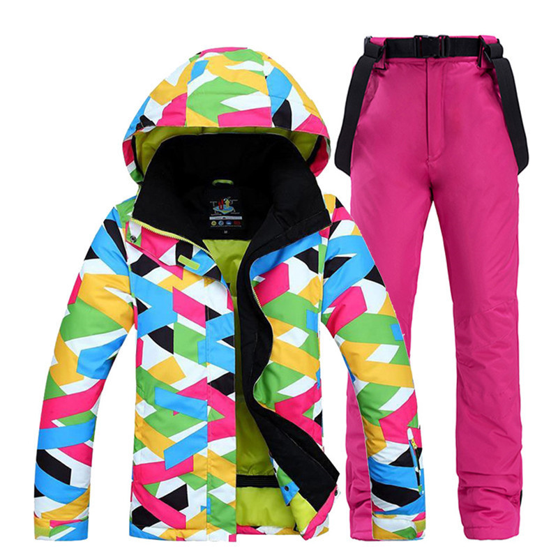 Cheap Colorful Women Snow Wear snowboarding suit sets waterproof windproof breathable Winter sports Ski jacket + bibs Snow pant