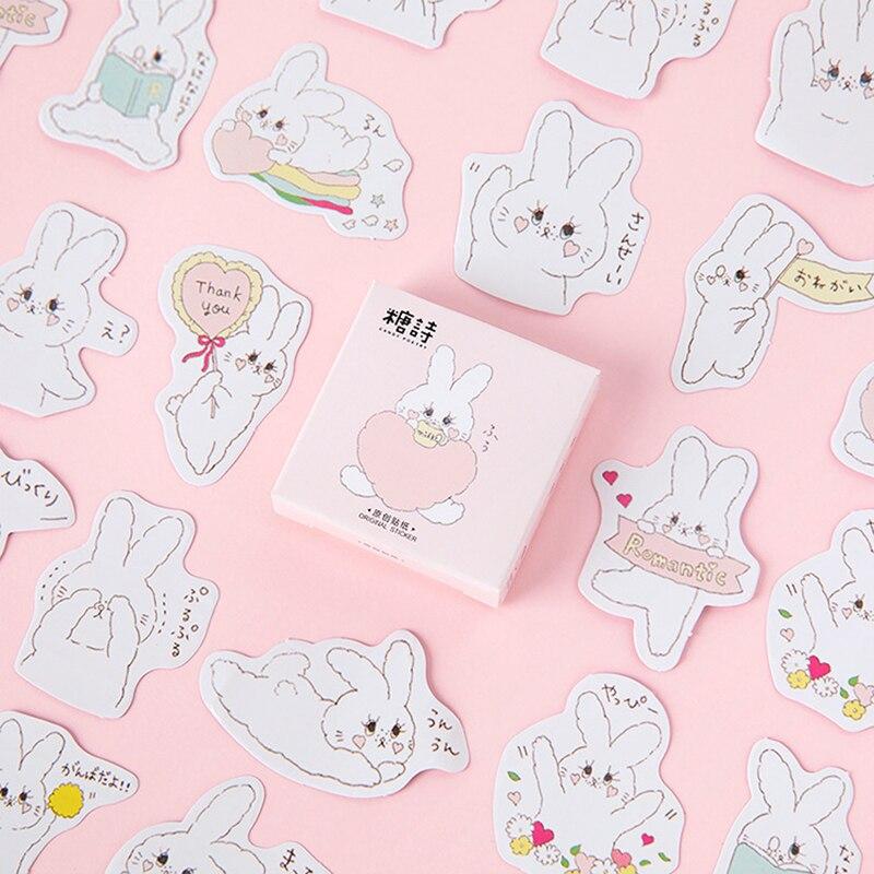45 Pcs/box Cute Cartoon Rabbit Mini Sticker Set Decoration Decal Diy Album Scrapbooking Sealing Sticker Kawaii