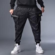 Artı 7XL XXXXL erkek sonbahar kış kamuflaj rahat Jogger Camo Sportwear Baggy harem pantolon Slacks kuşaklı pantolon Sweatpants
