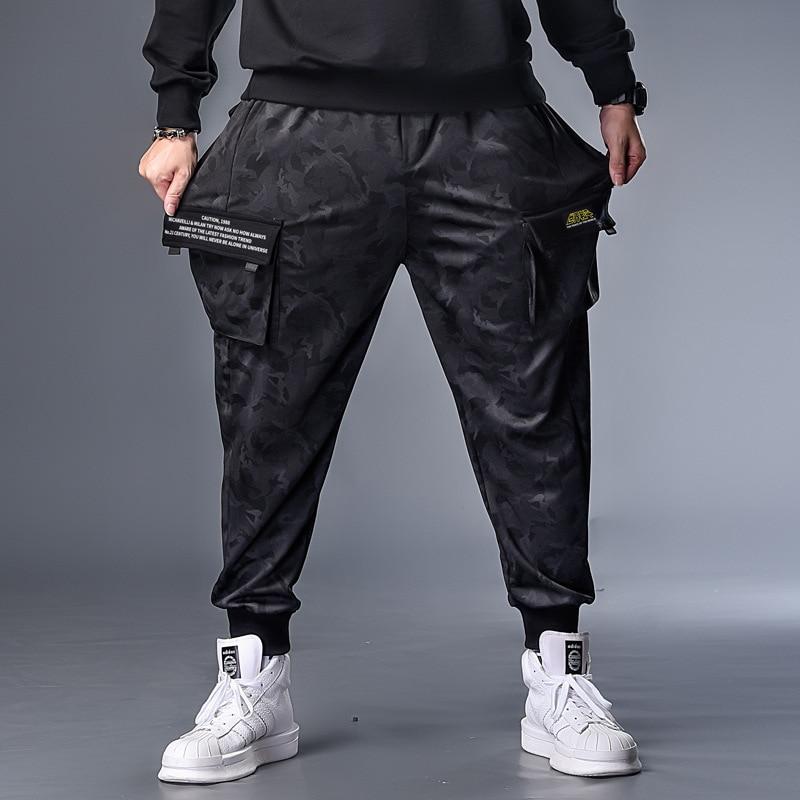 PLUS 7XL XXXXL Mens Autumn Winter Camouflage Casual Jogger Camo Sportwear Baggy Harem Pants Slacks Belted Trousers Sweatpants