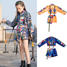 Girls Jazz Costumes Children Street Dance Sequin Clothes Kids Hiphop  Performance Outfit Child Catwalk Show Clothing DQL2823
